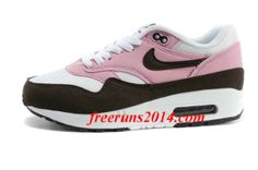 Womens Nike Air Max 1 Pink Cooler Red Mahagony White Gym Red Shoes   #Pink #Womens #Sneakers