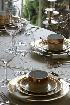 LINENS- pintuck DISH- majestic GLASSWARE- veritas water goblet and veritas red wine