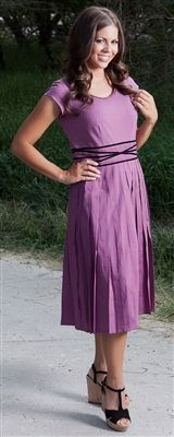 $44.99 The Sara modest dress. Gorgeous purple! It's long enough for me to take on my mission!!! pin it to win it :)