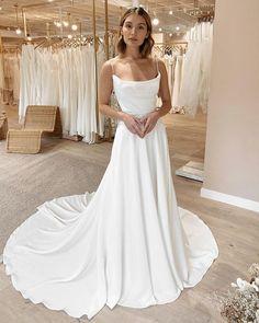 Long Gown For Wedding, Dream Wedding Dresses, Bridal Dresses, Wedding Gowns, Simple Elegant Wedding Dress, Classic Wedding Dress, Bridal Gown, Cowl Neck Wedding Dress, Spaghetti Strap Wedding Dress