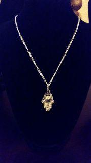 "Hamsa 16"" Silver Chain Necklace Handmade by U.BE.U. FASHION"