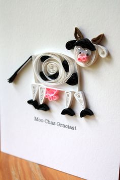 Quilled Cow Thank You Card - Unique Greeting Cards