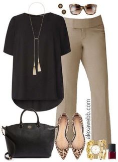 Beige Work Pants Outfits - Work Outfit - Fashion for Women - alexawebb.com #plussize #work #outfit