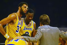 Kareem Abdul-Jabbar #33 of the Los Angeles Lakers looks on against the San Antonio Spurs during an NBA basketball game circa 1984 at The Forum in Inglewood, California. Abdul-Jabbar played for the Lakers from 1975-89.