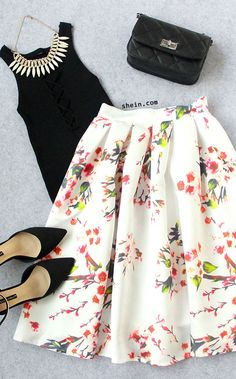White Floral Pleated Skirt Summer Fashion For Teens, Summer Fashion Outfits, Latest Fashion For Women, Women's Fashion Dresses, Casual Dresses, Casual Outfits, Womens Fashion, Skirt Fashion, Jw Fashion