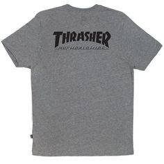 HUF HUF X Thrasher Grey Classic H Tee (255 SEK) ❤ liked on Polyvore featuring tops, t-shirts, huf, grey t shirt, grey top, gray tee and huf t shirts