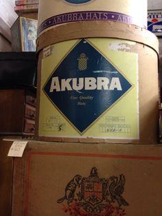 Akubra .. Australian vintage hat box Australian Hats, Australian Vintage, Akubra Hats, Vintage Hat Boxes, Place Names, Signage, Billboard, Signs