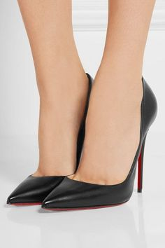 Heel measures approximately 120mm/ 5 inches Black leather Slip on Made in Italy Small to size. See Size & Fit notes.
