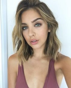 Shoulder length wavy hair, brunette with blonde highlights, gorgeous