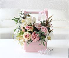 """Купить Цветочная композиция в деревянном коробе """"Нежность"""" - интерьерная композиция, розы, интерьерный букет, букет"""