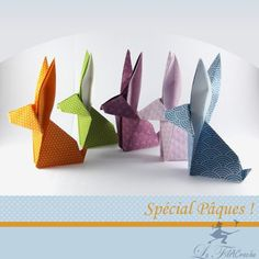 5 rabbits in origami from Des-plis-aux-mailles on DaWanda. Easter Crafts, Holiday Crafts, Diy And Crafts, Crafts For Kids, Origami Paper Folding, Etsy, Diy Gifts, Art For Kids, Paper Crafting