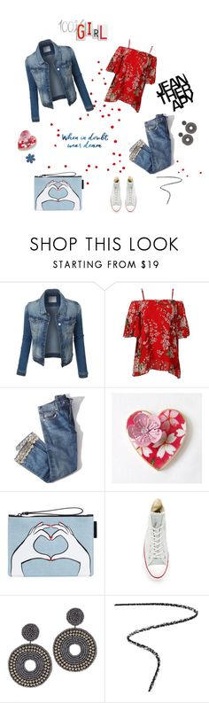 """When in doubt, wear denim"" by annacullart ❤ liked on Polyvore featuring Brock Collection, Lulu Guinness, Converse, Therapy, Kenneth Jay Lane, Burberry, contestentry and alldenim"