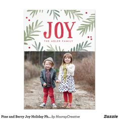 Pine and Berry Joy Holiday Photo Card Handpainted pine branches and berries with a joyful message.