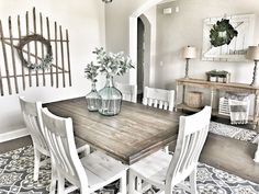 Exciting Modern Farmhouse Dining Room Decor Ideas – Home Decor Ideas French Country Dining Room, Farmhouse Dining Room Table, Dining Room Furniture, Furniture Decor, French Furniture, Rustic Furniture, Dining Room Tables, Dining Area, Small Dining Rooms