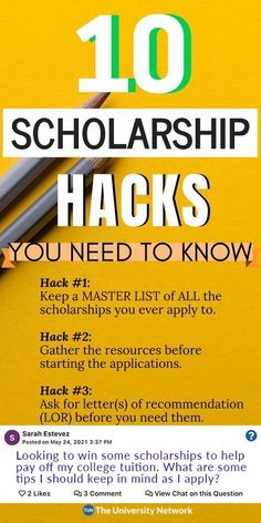 """Hack #4: Identify and """"categorize"""" the scholarships. Hack #5: Recycle essays. Hack #6: Save every single essay you've ever written and date them. Hack #7: Target small, local, or branded scholarships. Hack #8: Don't treat it like a lotto. Hack #9: Remain hopeful and positive. Hack #10: Don't feel entitled. Scholarships For College Students, School Scholarship, Grants For College, Saving For College, College Planning, College Tips, College Checklist, College Dorms, College Club"""