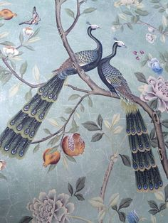 Exquisite hand painted wallpaper, hand painted fabrics, Nsr nsrhandcrafts presenting better hand painted wallpaper, chinoiserie wallpaper for you. Chinese Wallpaper, Silk Wallpaper, Hand Painted Wallpaper, Chinoiserie Wallpaper, Chinoiserie Chic, Butterfly Wallpaper, Painting Wallpaper, Room Wallpaper, De Gournay Wallpaper