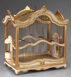 ANTIQUE WIRE BIRDCAGES | decorative accessories, , Wood and wire bird cage with gilt highlights ...
