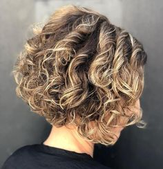 Stacked Curly Bronde Bob