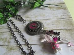Pink Steampunk Necklace, Clock Hand, Heart Bead, Pink, Rhinestone, Charm Beaded Pewter, Steampunk Chain Necklace, Steampunk Jewelry