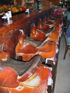 wicked cool!   ~~Saddle Bar in Bandera, TX.   O.S.T. Retaurant. Photo by Andy New.          We need to go!!!!!