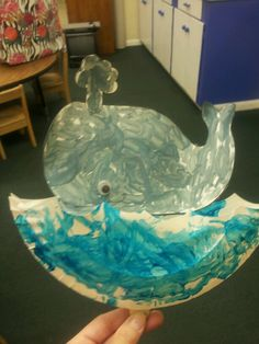 Can use for ocean theme or as we did for 'Jonah and the whale'. One paper plate cut in half with wave look. Glue together leave a hole in bottom middle for the popsicle stick.Kids paint plate blue. Find any whale picture that would fit inside of yr plate then paint grey with a googley eye. Glue popsicle stick on back of whale. Then u put the popsicle stick inside of plate. It pops up and down. We read the story while the kids held there craft.