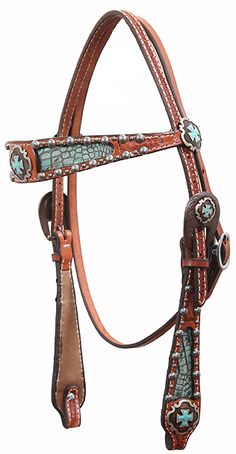 Chestnut Leather Headstall with Turquoise Gator Print Inlays embellished with the Vintage Scallop Cross Concho and Antique Engraved Dots and Rusty Adapter Buckles.