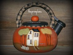 Primitive Handpainted Fall Tea Kettle by theprimplace on Etsy
