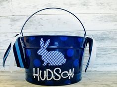 custom personalized 16 QUART name Easter bucket featuring a patterned bunny