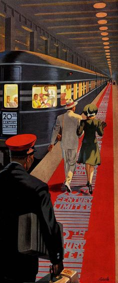 Century Limited, New York To Chicago Overnight - New York Central System ~ Vintage travel poster illustrated by Ray Prohaska, Old Posters, Train Posters, Railway Posters, Art Deco Posters, Illustrations And Posters, Art Deco Illustration, Train Illustration, New York Central, Retro Art