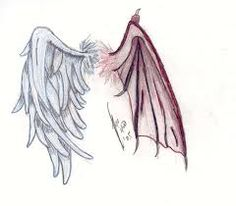 """Stitch these wings on the back of a shirt for a new twist on the classic """"angel on one shoulder, devil on the other"""" theme. Set includes both left and right wings - no need to flip the design. Dimensions listed are for one wing. Angel Devil Tattoo, Demon Tattoo, Angel And Devil, Evil Angel, Samurai Tattoo, Wing Tattoo Designs, Angel Tattoo Designs, Body Art Tattoos, Mini Tattoos"""