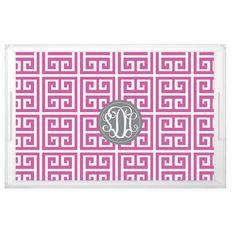 Big Sister Little Sister Gift Greek Key Tray - Sorority decor Tray -Custom Greek Letters Pattern Design with Monogram - Greek Decor Ideas