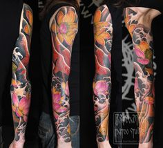 Color Japanese full sleeve tattoo. Flowering lotus and a pair of golden fishes.     Very unusual and very cool tattoo sleeve... www.thetattoofanatic.com
