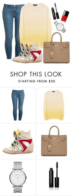 """""""Simple women's set with yellow and red"""" by dailyfasinsk on Polyvore featuring mode, Frame Denim, Loro Piana, Isabel Marant, Yves Saint Laurent, Marc by Marc Jacobs en Bobbi Brown Cosmetics"""