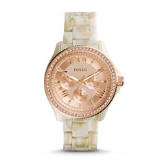 Fossil Cecile Multifunction Pearlized Resin Watch - Shimmer Horn.         Otro para mi colección