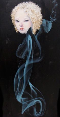 """Ephemera"" - Teiji Hayama, digital and oil on wood {contemporary figurative artist female head on smoke body woman painting}"