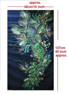 Gorgeous Peacock Feather Eye motif Sequin by PrintedSilkFabric