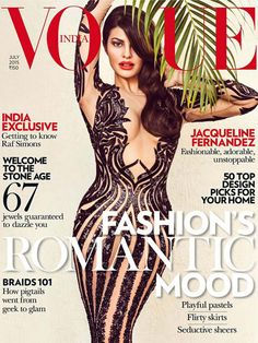 Jacqueline Fernandez for Vogue India, July 2015: The Roy star is the cover girl for fashion bible Vogue. We think Jacqueline looks super hot in this gorgeous sheer evening gown by designer Zuhair Murad.