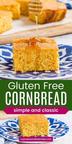 Gluten Free Cornbread is moist, tender, and just slightly sweet. Stir it together in one bowl and bake it to a perfect golden brown in minutes! Then serve with your favorite barbecue, chili, soup, or holiday recipes! Gluten Free Cornbread, Sweet Cornbread, Hot Butter, Apple Butter, Glass Baking Pan, Vegetarian Side Dishes, Baking Flour, Breakfast Bake, Gluten Free Baking