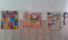 cuadros con acrilico sobre tela donde todos los niños aportaron algo