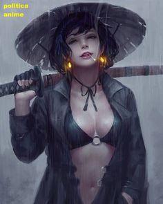 Female Samurai by Emre Gierszal illuminated earrings Fantasy Women, Fantasy Girl, Character Inspiration, Character Art, Character Concept, Girl Pose, Ronin Samurai, Anime Kunst, Fantasy Warrior