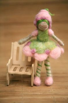 Lime Chiffon a strawberry shortcake friend. Needle felted.