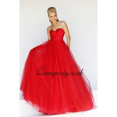 Tulle Red Sweetheart Ball Gown Prom Dress
