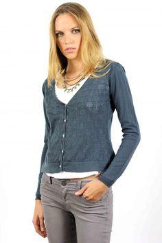 Cardigan punto azul petróleo, blue jacket, new colection, System Action, clothes, ropa, tienda online, online shop