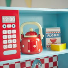 This lovely toy kettle is the sweetest possible accessory for our play kitchens