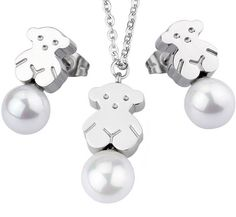 2015 Fashion Trends, Pendant Set, Teddy Bear, Metal, Silver, Beautiful, Jewelry, Check, Products