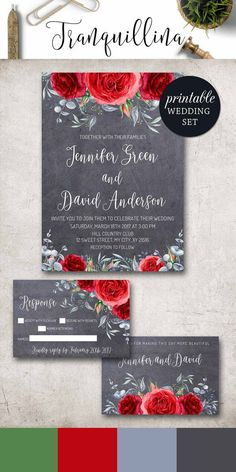 Black silver red hearts floral wedding invitation floral wedding red wedding invitation winter floral wedding invitation diy printable wedding invitations rose wedding invite spring summer boho wedding stopboris Images