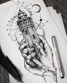 Lighthouse, tattoo, geometric, ink, line art Tattoo Sketches, Tattoo Drawings, Art Sketches, Pencil Drawings, Art Drawings, Line Drawing Art, Black Pen Sketches, Black Pen Drawing, Pen Tattoo