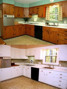 What a difference paint makes! This kitchen was completely transformed by painting the cabinets and walls.