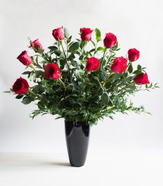 Red Long Stemmed Roses In Vase | Winston Flowers