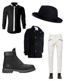 """Untitled #4"" by cristina-7914 on Polyvore featuring Lock & Co Hatters, Balmain, Timberland, men's fashion and menswear"